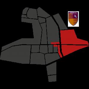 Mappa del rione Bergamo con stemma
