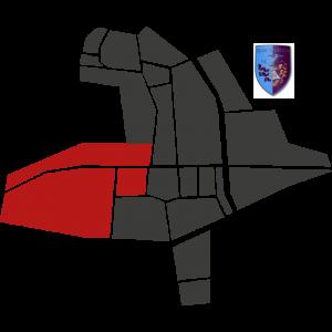 Mappa del rione Castello con stemma